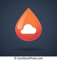 Blood drop icon with a cloud