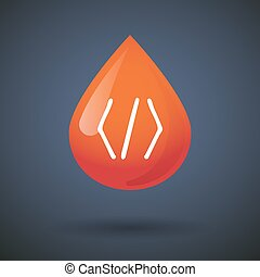 Blood drop icon with a code sign