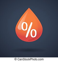 Blood drop icon with a discount sign