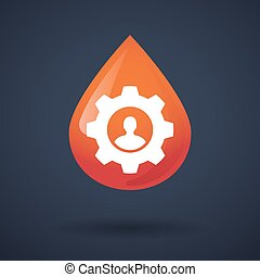 Blood drop icon with a gear