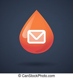 Blood drop icon with a mail sign