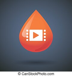 Blood drop icon with a multimedia sign