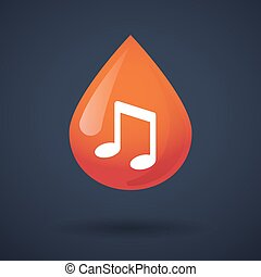 Blood drop icon with a note