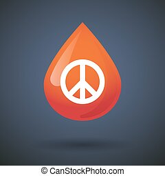 Blood drop icon with a peace sign