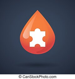 Blood drop icon with a puzzle piece