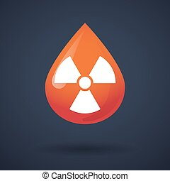 Blood drop icon with a radioactivity sign