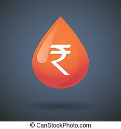 Blood drop icon with a rupee sign