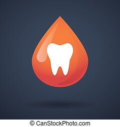 Blood drop icon with a tooth