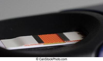 Blood drop on a test strip
