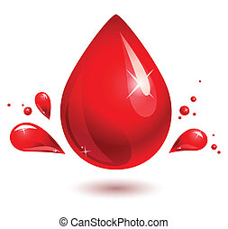 blood drop. red drop - red drop on white. blood drop. eps 10