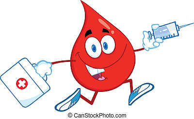 Blood Drop Running With A Syringe - Red Blood Drop Character...
