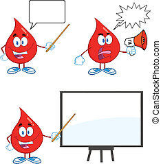 Blood Drop Set Collection 3 - Blood Drop Cartoon Mascot...