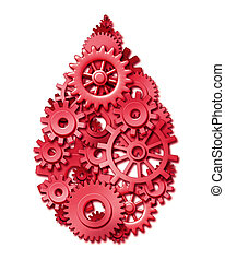 Blood drop shape symbol made of gears and cogs as a symbol...