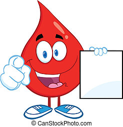 Blood Drop Showing A Blank Sign - Red Blood Drop Cartoon...