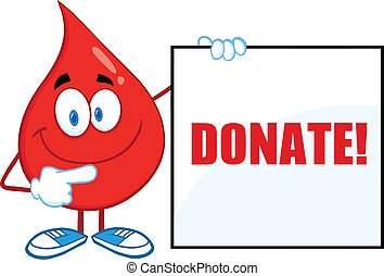Red Blood Drop Cartoon Character Showing A Blank Sign With Text