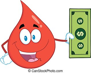 Blood Drop Showing A Dollar Bill - Happy Red Blood Drop...