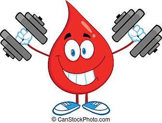 Blood Drop Training With Dumbbells - Smiling Red Blood Drop...