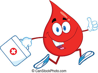 Red Blood Drop Character Running With A Medicine Bag