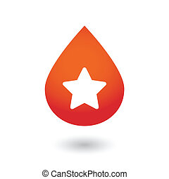 Blood drop with a star