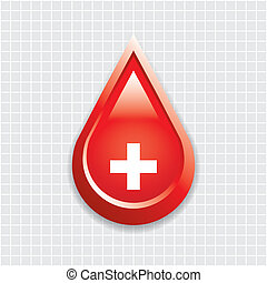Blood drop with medical cross .