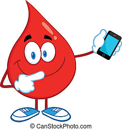 Blood Drop With Mobile Phone - Red Blood Drop Character...