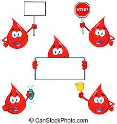 Blood Drops Cartoon Characters