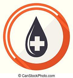 Blood flat design vector web icon. Round orange internet button isolated on white background.