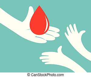 Blood giving - Close up of hand holding a drop of blood and...