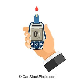 blood glucose meter in hand - hand holds blood glucose meter...