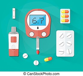 Blood Glucose Test, strip and pills, Diabetes set