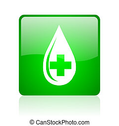 blood green square web glossy icon