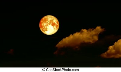 blood harvest moon pass rolling cloud on night sky time...