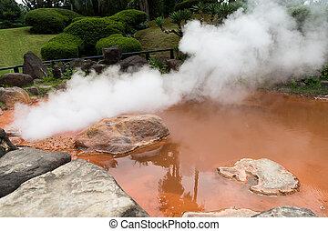 Blood Hell Hot Springs at Beppu