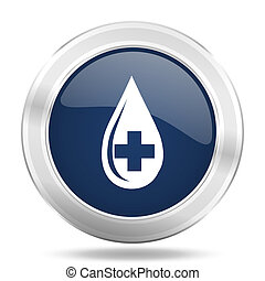 blood icon, dark blue round metallic internet button, web and mobile app illustration