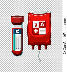Blood in tube and bag illustration