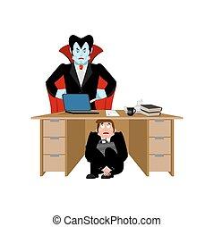 blood., ital, bőr, kereskedelmi ügynökség, dracula, megrémült, board., ábra, főnök, vampire., desk., vektor, üzletember, alatt, nem, asztal, félelem, munka, megijedt, ember