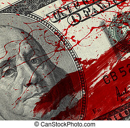 Blood Money - Fragment of 100 dollar bill with blood spots