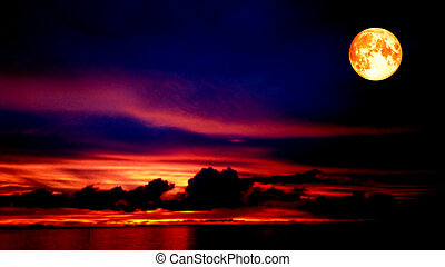 blood moon and red sky in night