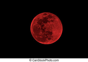 blood moon concept of a red full moon against a black sky