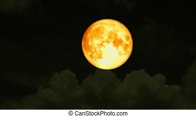 blood moon rise on night sky and white cloud moving pass