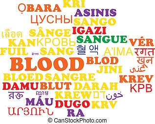 Blood multilanguage wordcloud background concept