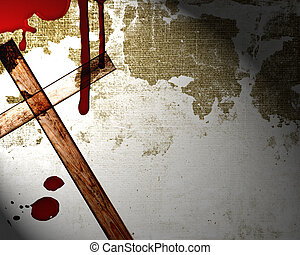 blood on the wall with cross