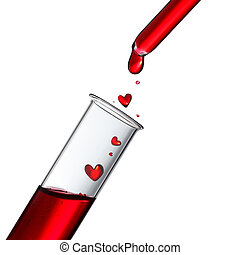 Blood or love potion drops in heart shape from glass pipette to test tube, donor or love concept
