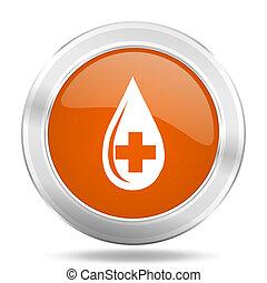 blood orange icon, metallic design internet button, web and mobile app illustration