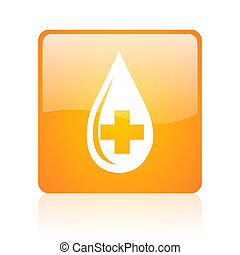 blood orange square web glossy icon