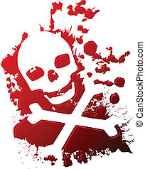 A skull and crossbones reversed out of spilled blood