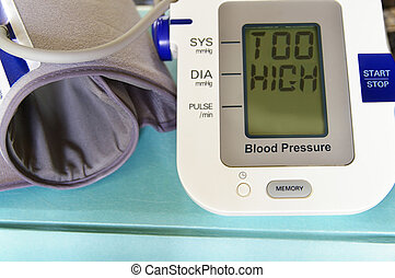 blood pressure - Blood pressure arm band with Too High text