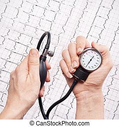 blood pressure gauge in the hands