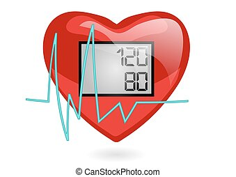 blood pressure. heart isolated on white background