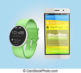 Blood pressure information synchronize from smart watch.